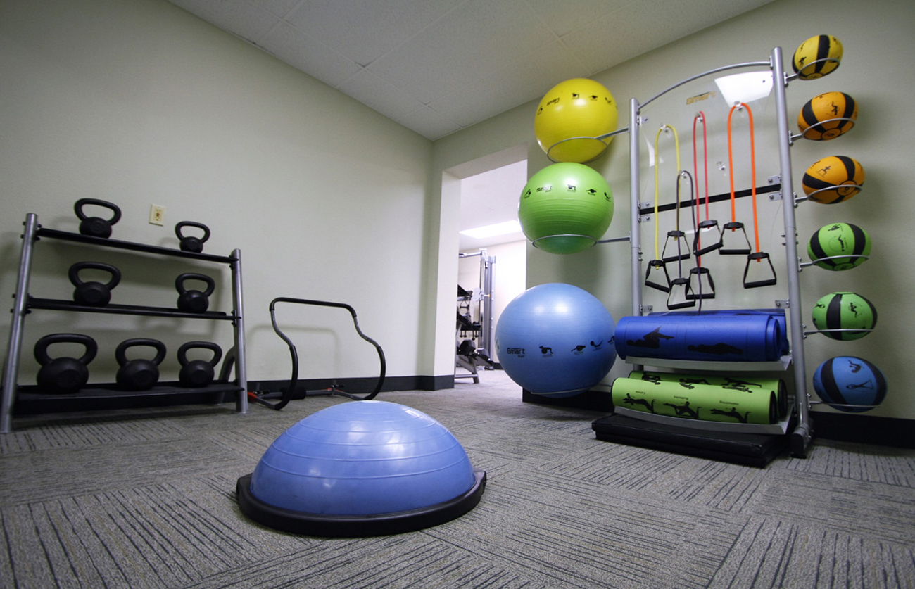 24-hour fitness center with aerobic and yoga equipment...