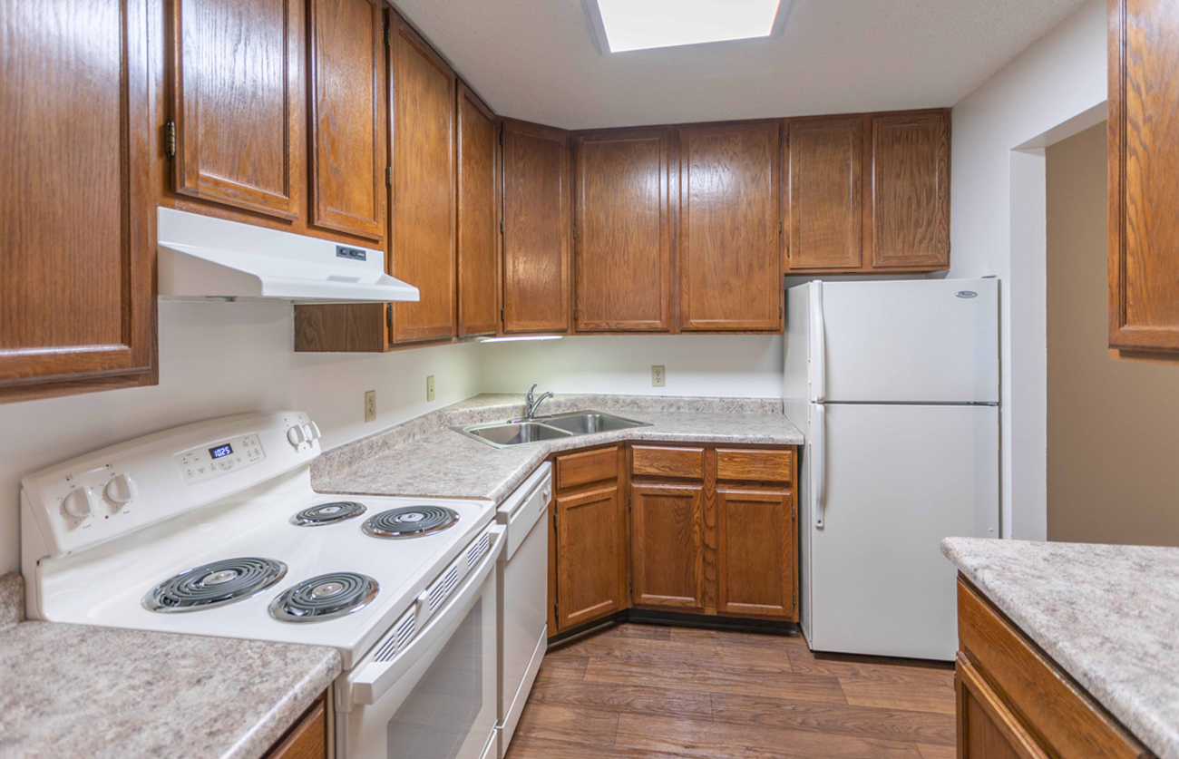 The Elm (2 bedroom): Large kitchen with lots of cabinet space