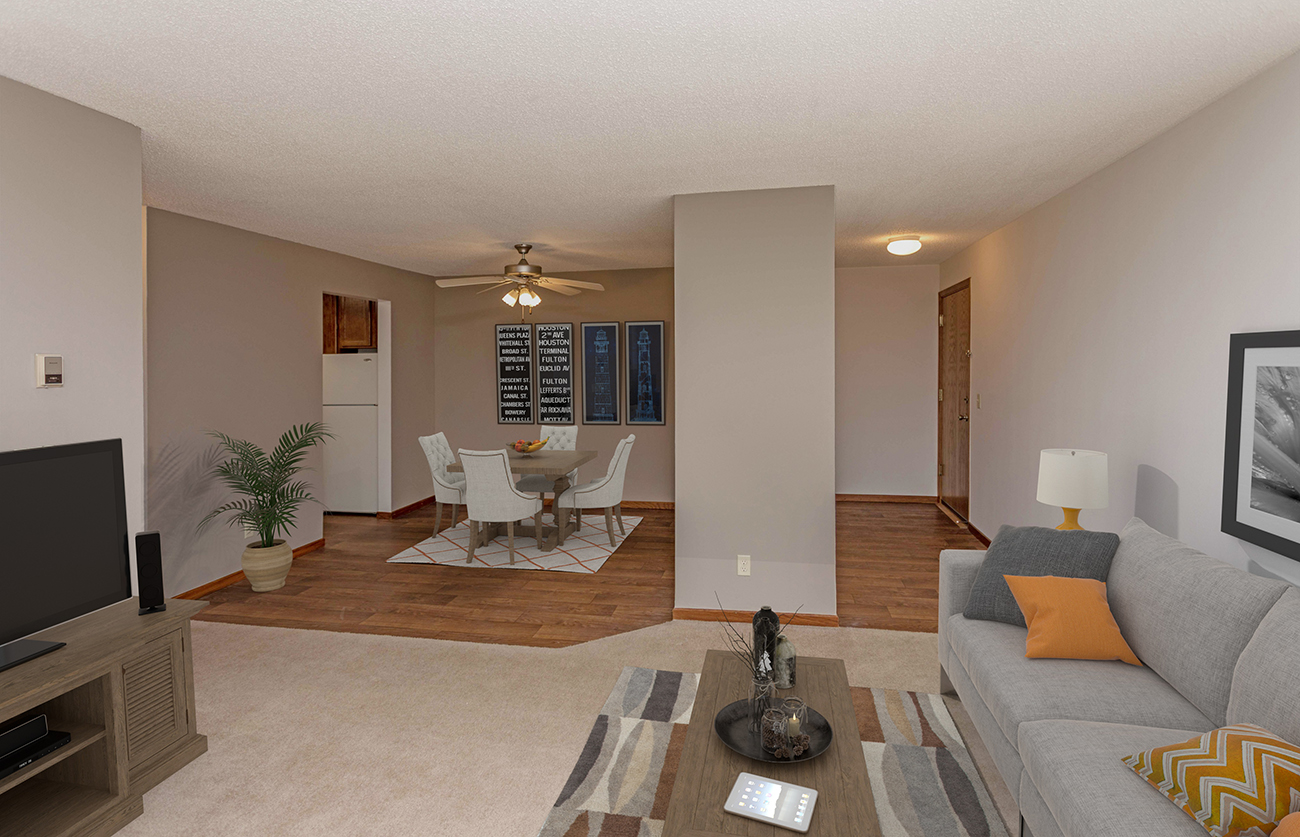 The Elm (2 Bedroom): Wood-look flooring in entry and large dining area